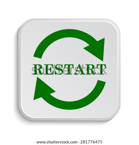 Restart icon. Internet button on white background.