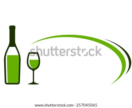restaurant background with white wine bottle, glass icon and decorative element - stock photo