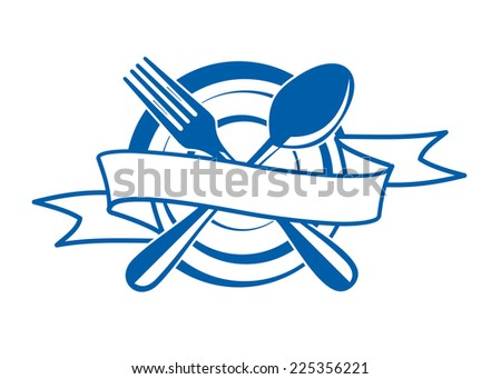 Restaurant banner with a blank ribbon with copyspace for your text swirling across an empty plate with a crossed spoon and fork - stock photo