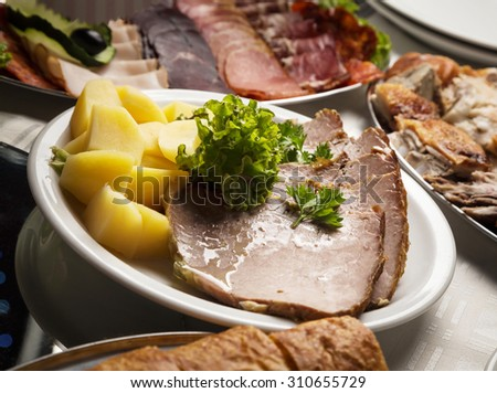 Restaurant banquet meat platter on actual wedding party