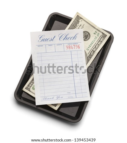 Restaurant bill with hundred dollar bill on payment tray isolated on a white background. - stock photo