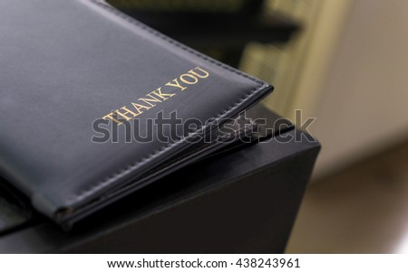 Restaurant Billing Tray. Leather Credit card folder for customer billing. Payment tray for cafe and restaurant. Thank you leather Restaurant payment. - stock photo