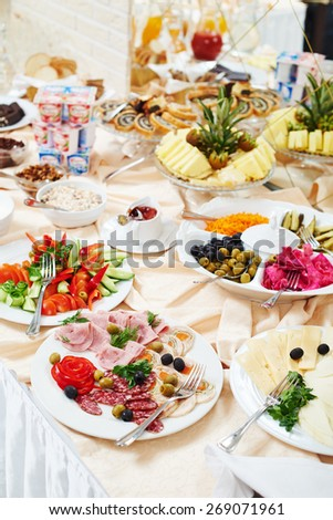 restaurant buffet catering service. food at morning breakfast smorgasbord. - stock photo