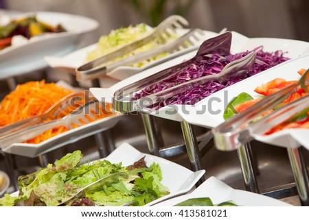 Restaurant buffet photo fresh food - stock photo