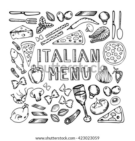 Restaurant cafe italian menu. Illustration of vintage typographical element for italian menu on chalkboard. Sketch