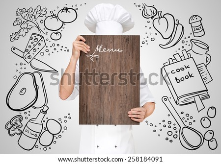 Restaurant chef on a sketchy background hiding behind a wooden chopping board for a business lunch menu with prices.
