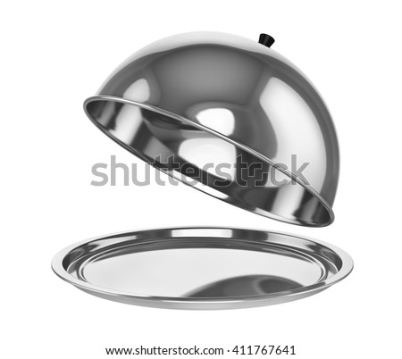 Restaurant chrome cloche with open lid. 3d illustration - stock photo