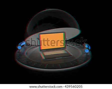 Restaurant cloche and laptop with open lid on a black background. 3D illustration. Anaglyph. View with red/cyan glasses to see in 3D. - stock photo