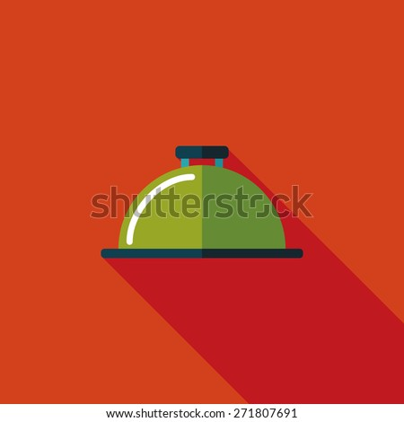 Restaurant cloche flat icon with long shadow - stock photo