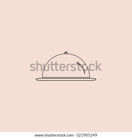 Restaurant cloche. Outline icon. Simple flat pictogram on pink background - stock photo