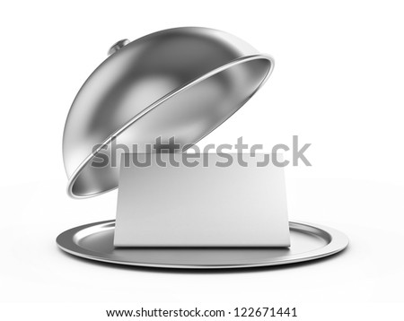 Restaurant cloche with a paper template for inscriptions. 3d image - stock photo