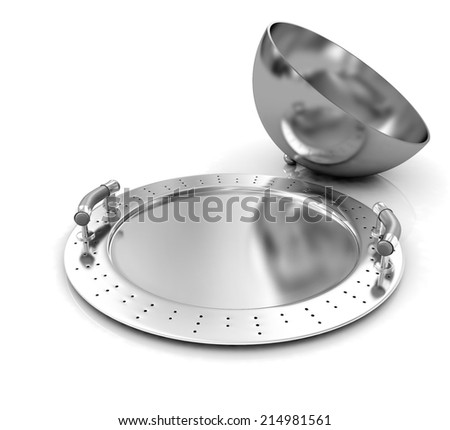 Restaurant cloche with lid on a white background - stock photo