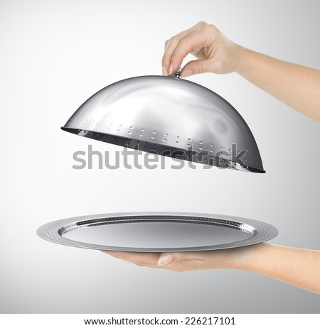 Restaurant cloche with open lid. 3d illustration - stock photo
