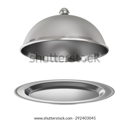 Restaurant cloche with open lid on a white background. - stock photo