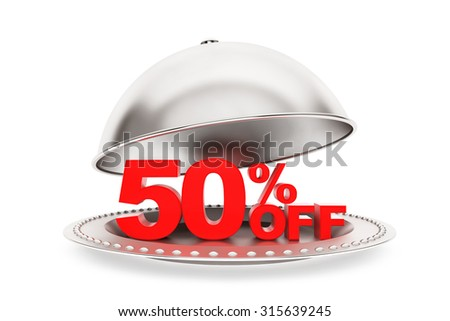 Restaurant cloche with 50 percent off Sign on a white background - stock photo