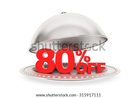 Restaurant cloche with 80 percent off Sign on a white background - stock photo