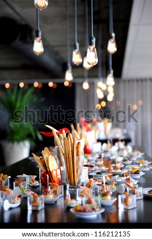 Restaurant Cocktail Tables in the Cocktail party - stock photo