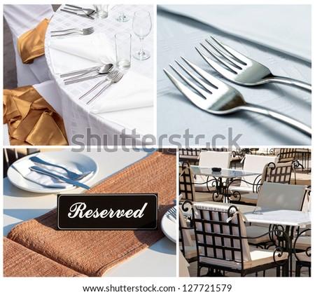 Restaurant collage - stock photo
