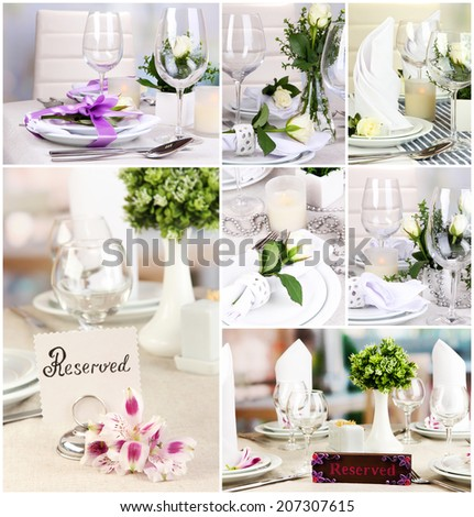 Restaurant collage - stock photo