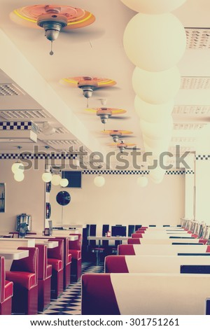 restaurant diner old fashion like color filter - stock photo