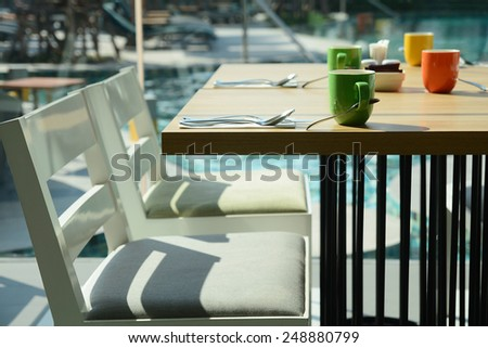 restaurant dinner table - stock photo