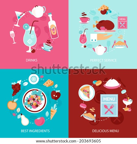 Restaurant drinks perfect service best ingredients delicious menu decorative icons set isolated  illustration - stock photo