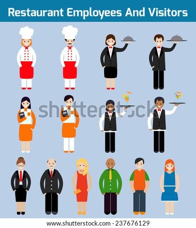 Restaurant employees and visitors flat avatars set with waiter chef servant isolated  illustration - stock photo