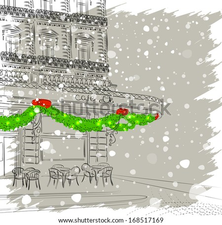 Restaurant facade with Christmas decorations. Raster version of vector illustration  - stock photo