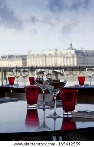 Restaurant facing Bordeaux docks - stock photo