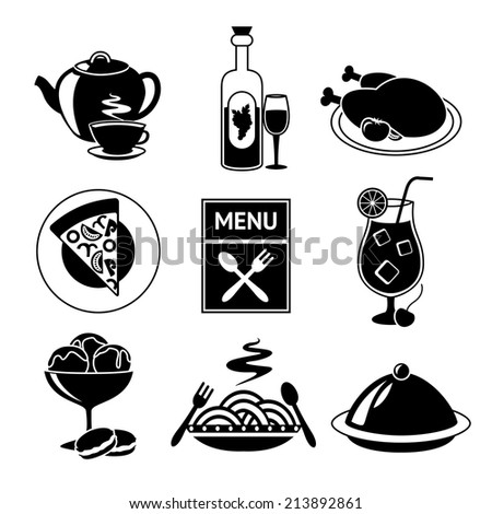 Restaurant food drink menu decorative black and white icons set isolated  illustration.