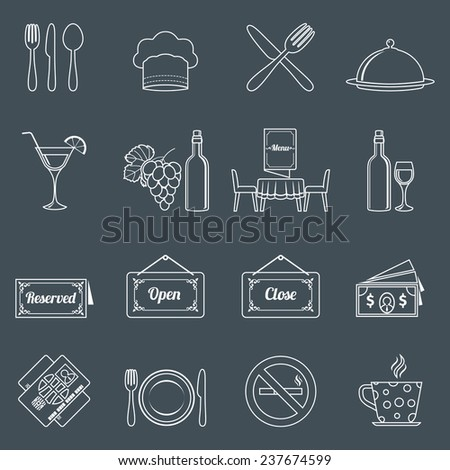 Restaurant food kitchen outline icons set with chef hat wine bottle isolated  illustration - stock photo