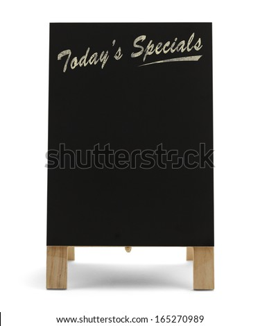 Restaurant Food Menu Black Chalk Board With Today's Specials Isolated on White Background. - stock photo
