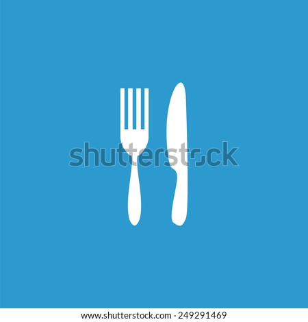 restaurant icon, isolated, white on the blue background. Exclusive Symbols  - stock photo