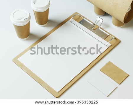 restaurant identity. 3d render - stock photo
