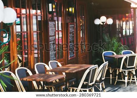 restaurant in Paris, France - stock photo