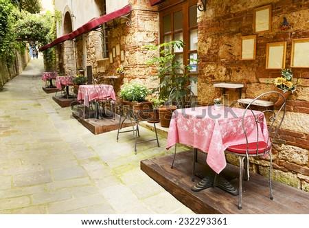 Restaurant in Tuscany - stock photo