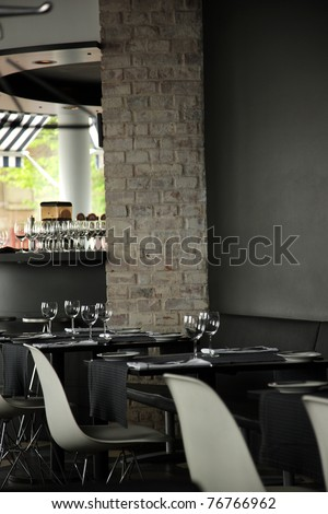 Restaurant interior, empty, ready for guests