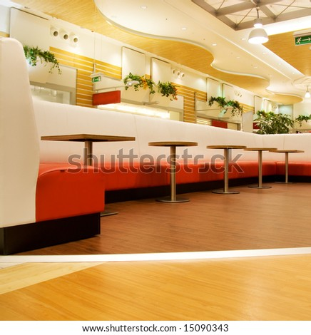 Restaurant interior in a shopping mall - stock photo