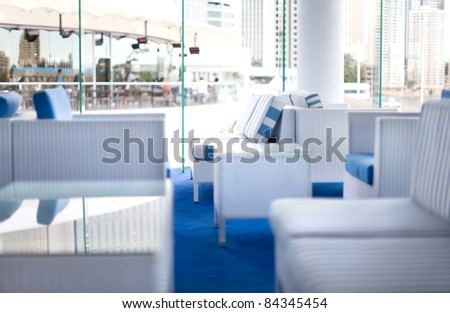 Restaurant interior with blue and white colour scheme