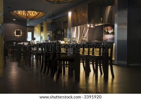 Restaurant interior with served tables