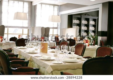 restaurant interiors - stock photo