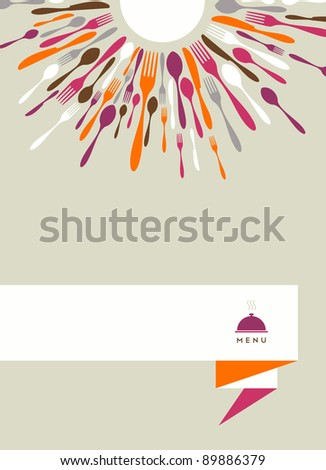 Restaurant menu background. Fork, knife and spoon silhouettes on different sizes and colors around white circle. - stock photo