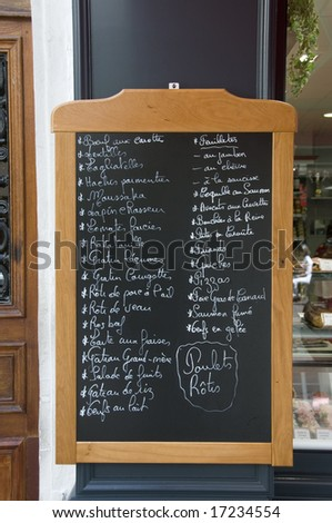 Restaurant Menu board, Paris, France