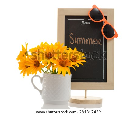 """Restaurant menu chalkboard with """"Summer"""" word on it, orange sunglasses and yellow flowers in the cup isolated on white. Conceptual image - summer menu, beach menu. - stock photo"""