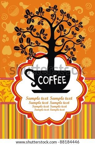 Restaurant menu design. Coffee cup with tree.  illustration - stock photo