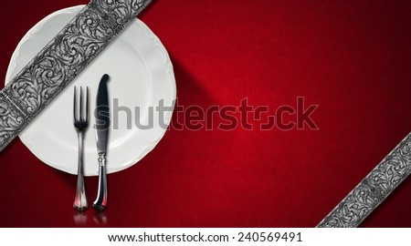 Restaurant Menu Design. Red velvet background with diagonal silver floral bands, empty white plate and silver cutlery. Template for an elegant restaurant menu - stock photo