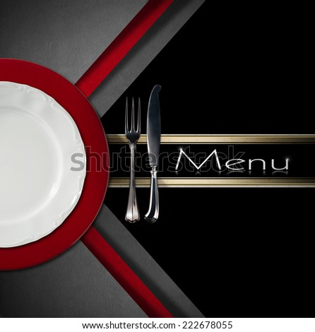 Restaurant Menu Design / Restaurant menu with empty and white plate on red under plate with silver cutlery, fork and knife on grey, red and black background with black band - stock photo