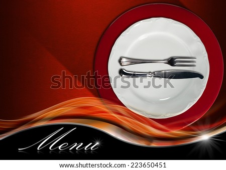 Restaurant Menu Design / Restaurant menu with empty and white plate on red underplate with silver cutlery, fork and knife on red and orange velvet background with metal wave and text Menu - stock photo