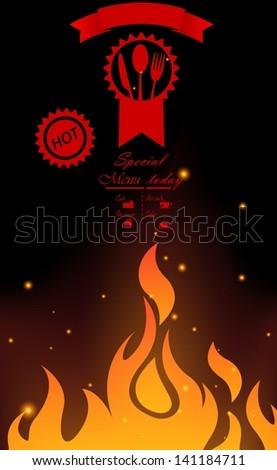 Restaurant menu design with flame - stock photo