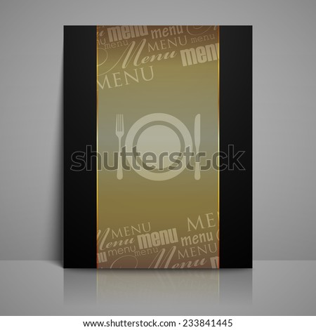 restaurant menu design with plate, fork and knife - stock photo